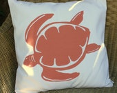 Turtle silk screened pillow cover