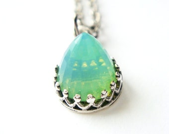 LAST ONE Rare Green Opal Peridot Swarovski Crystal Necklace August birthstone