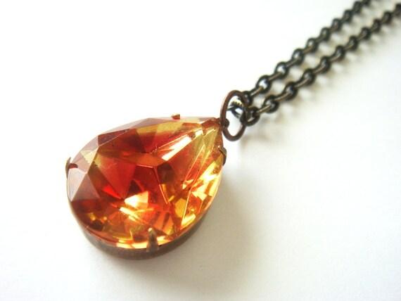 Limited Edition Amber Orange Vintage Crystal Necklace