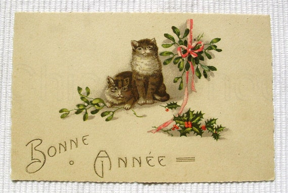 Vintage French Unused Art Deco Postcard - Bonne Annee (Happy New Year) with Cats & Mistletoe