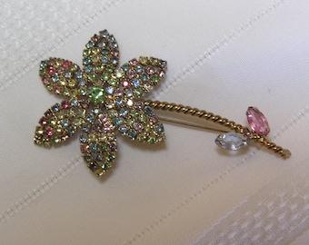 Vintage Rhinestones Many Colors Prong Set Flower Brooch