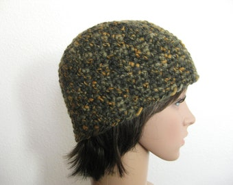 Crochet Beanie Green and Gold - Crocheted Camouflage Beanie - Teenager Beanie - Unisex Beanie - Crochet Unisex Beanie - Camo Hat