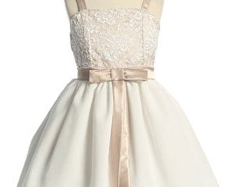 A taupe flower girl dress. Champagne satin flower girl dress. Lace flower girl dress.