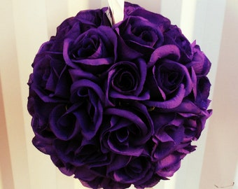 Purple pomander kissing ball flower girl wedding ceremony decoration Bridesmaid bouquet