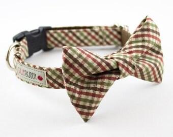Autumn Mini Plaid Dog Bow Tie Collar