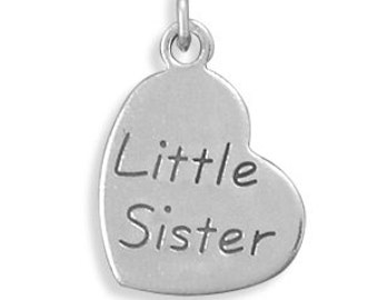 "Oxidized ""Little Sister"" or ""Big Sister"" Heart Charm, 925 Sterling Silver"