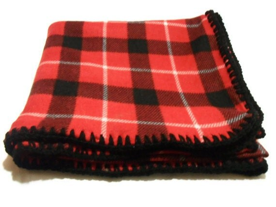 Red Plaid Fleece Throw Blanket With Black Crochet Edge