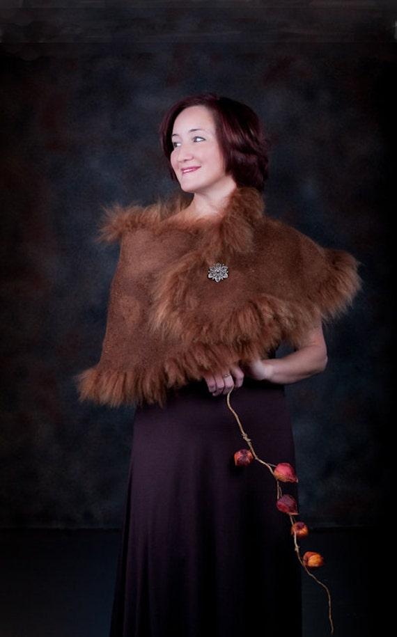 Felted Brown Alpaca Wrap Fur Cape