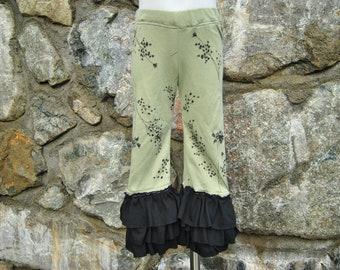 Size 2 Girls Upcycled Olive Ruffle Pants