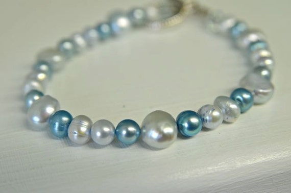 Blue Pearl Bracelet is Long made for Plus Size Women with Freshwater Pearls - Handmade in Maine