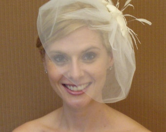 Tulle Birdcage Bubble Veil in Ivory, White, Blush,  Champagne, or Black - READY TO SHIP in 3-5 Days