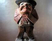 Folk Art Antique Hand-carved bottle Stopper w/original Medicine Bottle Hobo Art