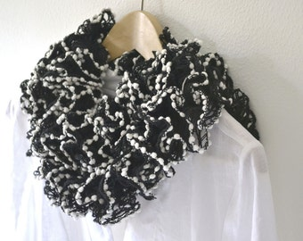 Ruffle scarf knit, ruffle lace women, spring accessories