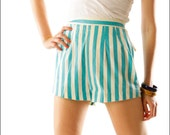 Turquoise Candy Striper High Waist Kitschy Mini Shorts--XS/S