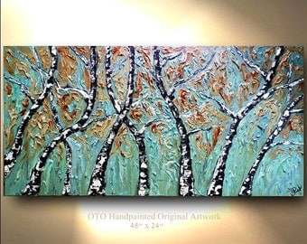 Landscape Painting Blue Teal earthy Forest Painting Aspen Birch Tree Abstract Texture wall decor Artwork Fine art canvas by OTO