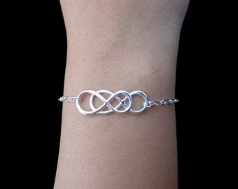 Infinity - Sterling Silver Double Infinity Bracelet - Eternity Bracelet, Simplicity, Forever Bracelet, Love, Bridal Party, Holiday Gifts