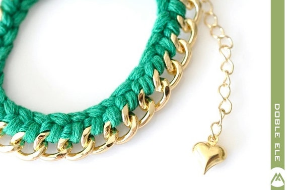 Woven Chain Bracelet - Small - Green