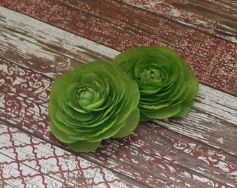 Silk Flowers - Two Small Silk Ranunculus Flowers in Pea Green - Artificial Flowers