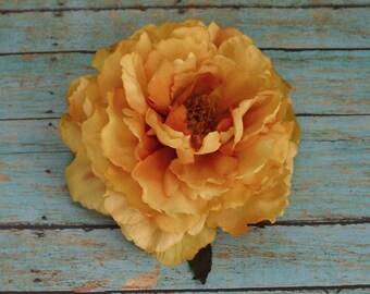 Silk Flowers - One Fabulous Jumbo Yellow-Orange Peony- Artificial Flowers