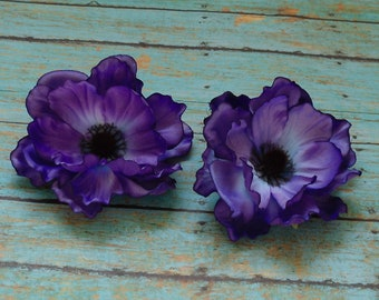 Silk Flowers - Two Purple Artificial Anemones - 3.75 Inches - Artificial Flowers