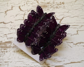 Feather Butterflies -12 Tiny Butterfly Embellishments in Deep PURPLE - 1.5 Inches - Artificial Butterflies
