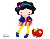 Snow White Sewing Pattern PDF Princess Doll Tutorial DIY - reversible Capelet, shoes and felt apple patterns included