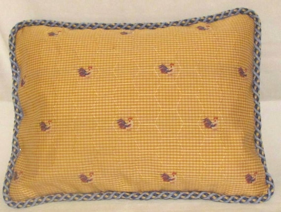 Country French Cottage Rooster Pillow Provence Yellow Red Blue