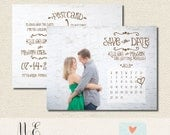 Rustic Vintage Inspired Save the Date Postcard - Set of 25