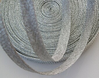 Sinamay Bias Binding 1cm Wide and 2 mtrs long - Silver