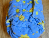 Ducky Flannel Fitted Cloth Diaper with Snaps Small