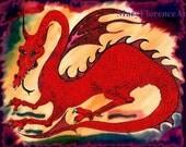 Red Dragon in a Dragon Lair, Fantasy Blank Card