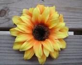 Yellow sunflower hair clip or pin - SO CUTE
