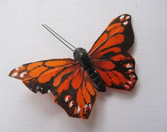 Orange BUTTERFLY HAIR CLIP black spots