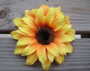 Yellow sunflower hair clip or pin - SO CUTE