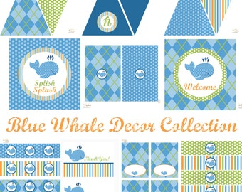 Whale Birthday Party, Whale Baby Shower, Whale Birthday Decorations, Whale Baby Shower Decorations, Whale Party Decorations, BeeAndDaisy
