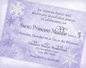Snow Princess Invitation Winter Wonderland Invitation - Frosty Purples - Gwynn Wasson Designs PRINTABLES