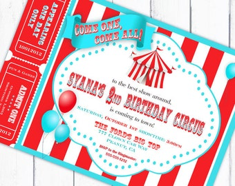 Circus Invitation Carnival Invitation Big Top Invitation with Tickets Balloons - Aqua and Red Collection - Gwynn Wasson Designs PRINTABLES