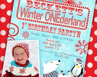 Winter ONEderland Invitation with Picture Winter Wonderland Invitation - Aqua and Red - Gwynn Wasson Designs PRINTABLES