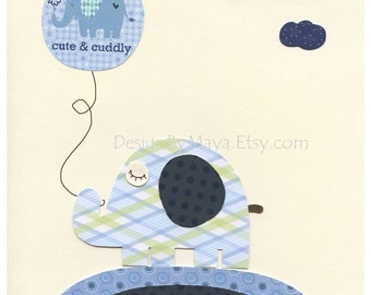 Baby boy, Nursery wall Decor, Children Art print, Harper, baby elephant, blue and white, match to the colors Harper bedding, kids room art