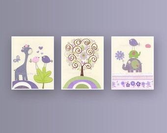 Baby Nursery Wall Art - Nursery art For baby girl Nursery, Nursery Decor, Girl Nursey, Lavender Green, set 3 print, LuLu Sweet Potato,carter