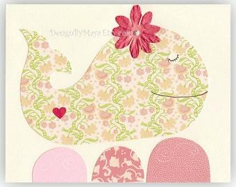 Nursery art, baby nursery decor, nursery wall art, baby room art, kids decor // whale, Flowers. sea // Pink red green // Nautical print 8x1