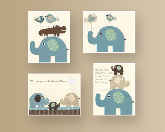 Baby room decor nursery room art baby elephant nursery wall - Room decoration for baby boy ...