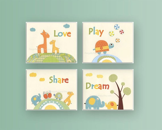 Nursery decor Jungle friends Baby room art Nursery Decor Baby Wall Art set 4 prints Love Play Share Dream Nursery Art Turtle Giraffe Nursery