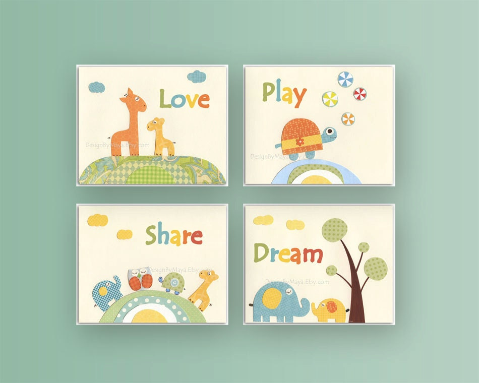 Baby room art nursery decor baby wall art set 4 by for Room decor etsy