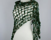 green shawl triangle crochet solomon's knot net wrap scarf  dark green autumn fall delicate for her woodland forest premium acrylic