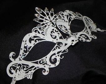 White and Rhinestone Metallic Masquerade Mask