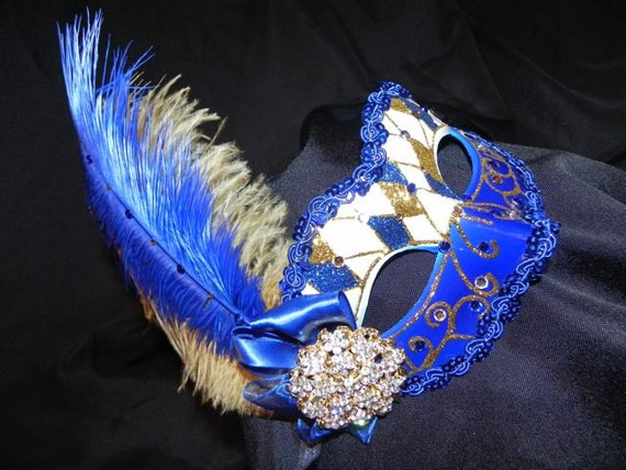 Harlequin Masquerade Mask in Royal Blue, White and Gold