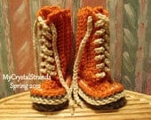 Buggs -  Boys Crochet Lace Up Baby Booties in Pumpkin / Cream /  Brown Taupe