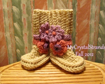 Buggs - Crochet Baby Booties in Heather w/ Two Detachable Flower Accents in Pink, Lilac, and Orchard plum