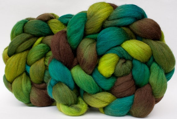 Green, turquoise, brown Polwarth/silk handpainted combed top (roving), 4 oz